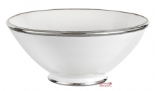 Moroccan Ceramic Bowl White with Silver Edge Large Handmade 30 cm / 11.8""
